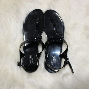 Coach Black Rubber Beaded Floral Thongs sz 10